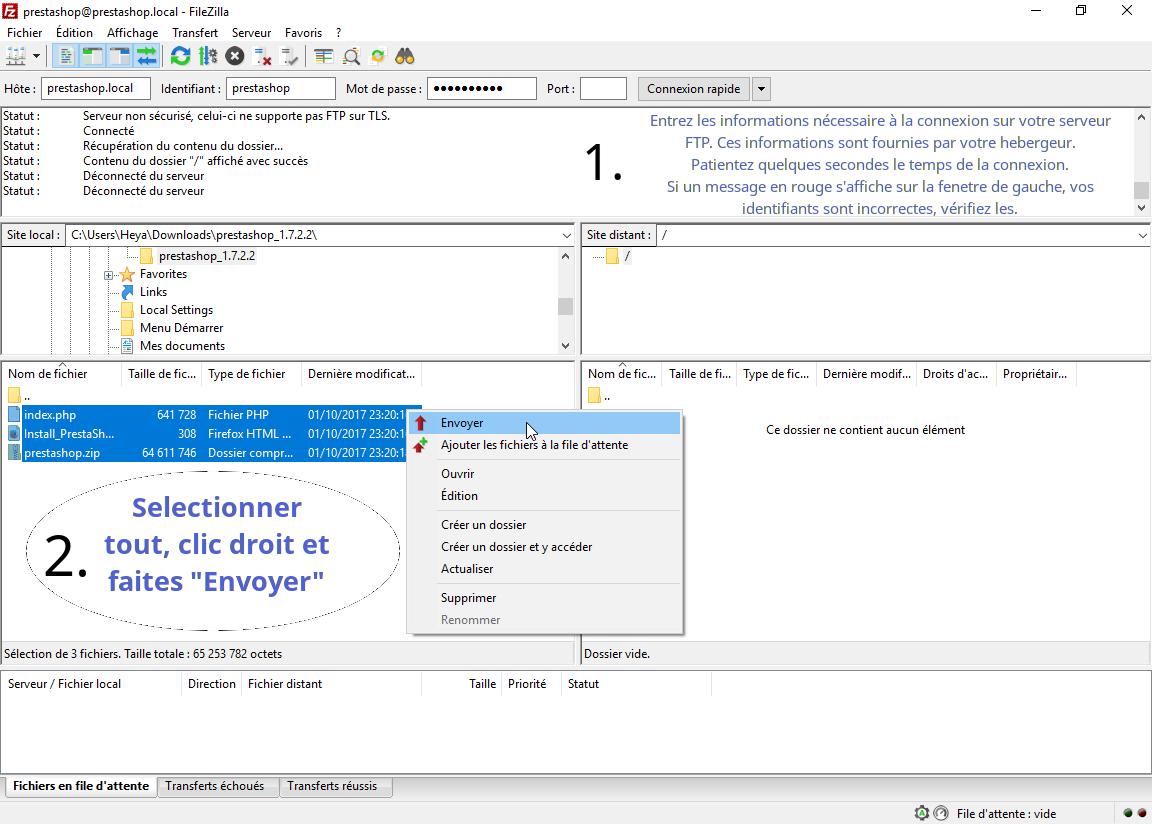 Configuration filezilla et envoi des fichiers pour y installer prestashop