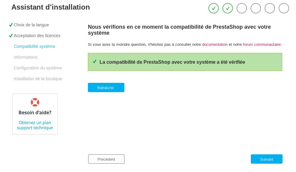 Installation prestashop: Vérification compatibilité